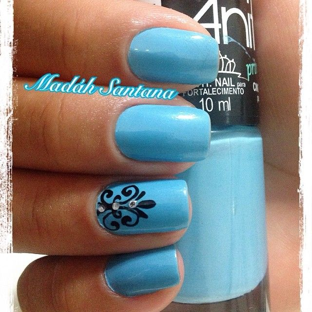 Best light blue nails with black tree crystal design picsmine 640 640 in 65 stunning light blue nails art designs prinsesfo Gallery