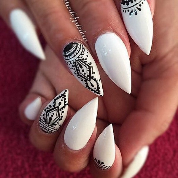 Best White And Black Nail Art With Tribal design