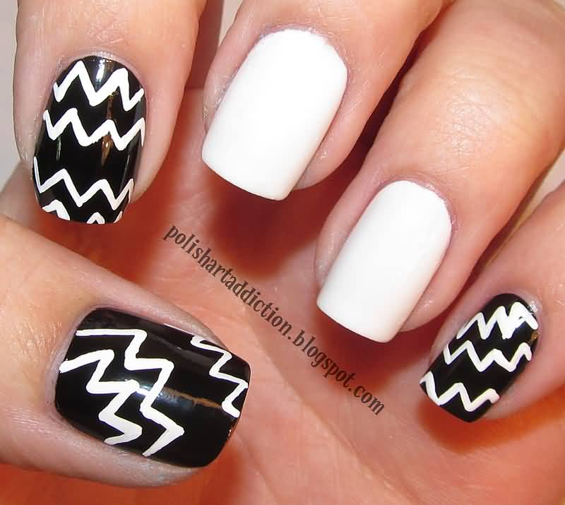 Best White And Black Nail Art With full White