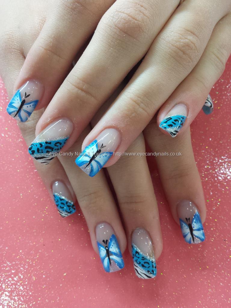 Blue Color Butterfly On Side 3D Butterflies Nail Art