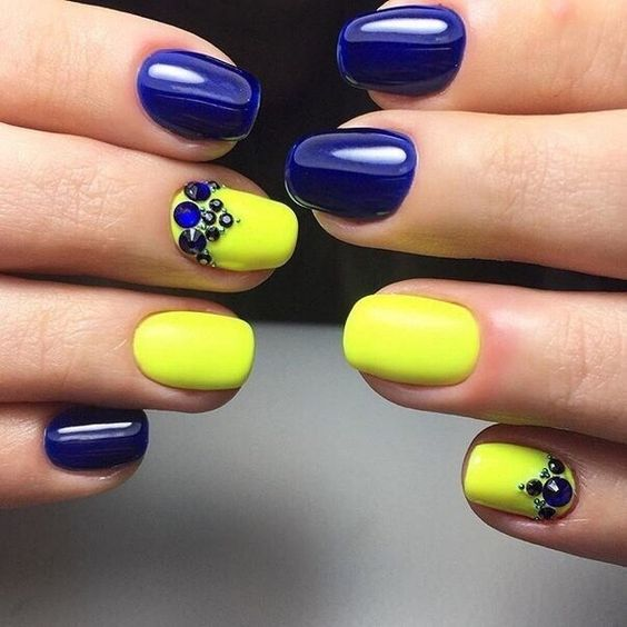 Bright Yellow And Blue Stoned Nail Art Design
