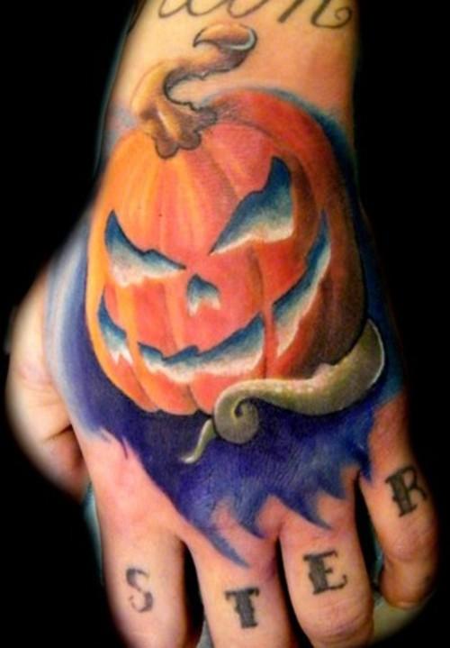 Brilliant Halloween Pumpkin Tattoo On Hand For Girls