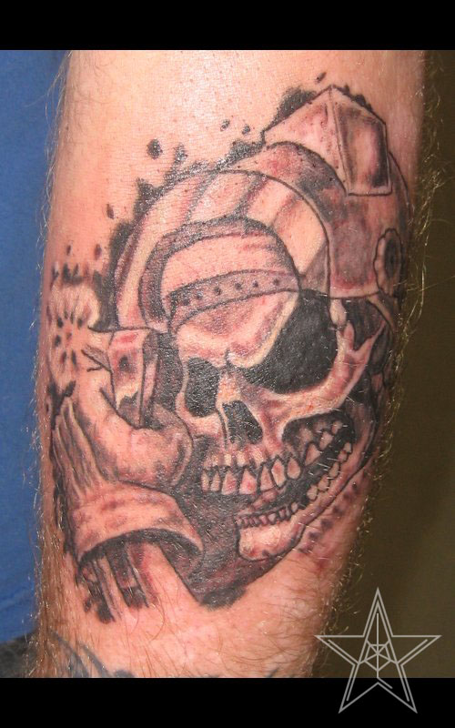 Brilliant Skull In Helmet Tattoo For Boys