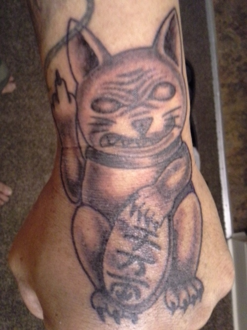 Charming Scary Cat Hand Tattoo Design For Boys