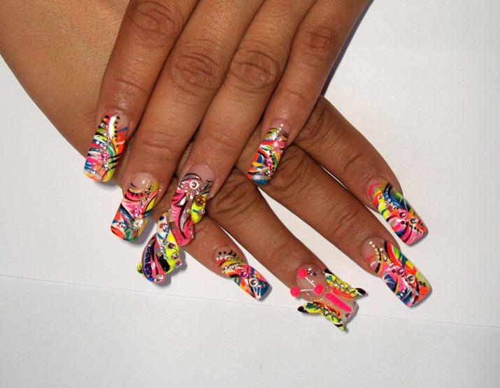 Colorful Butterfly 3D Butterflies Nail Art