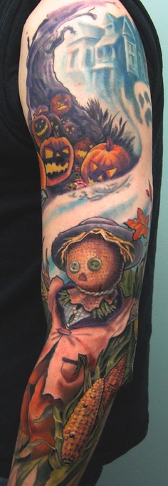 Coolest Halloween Tattoo On Sleeve For Boys