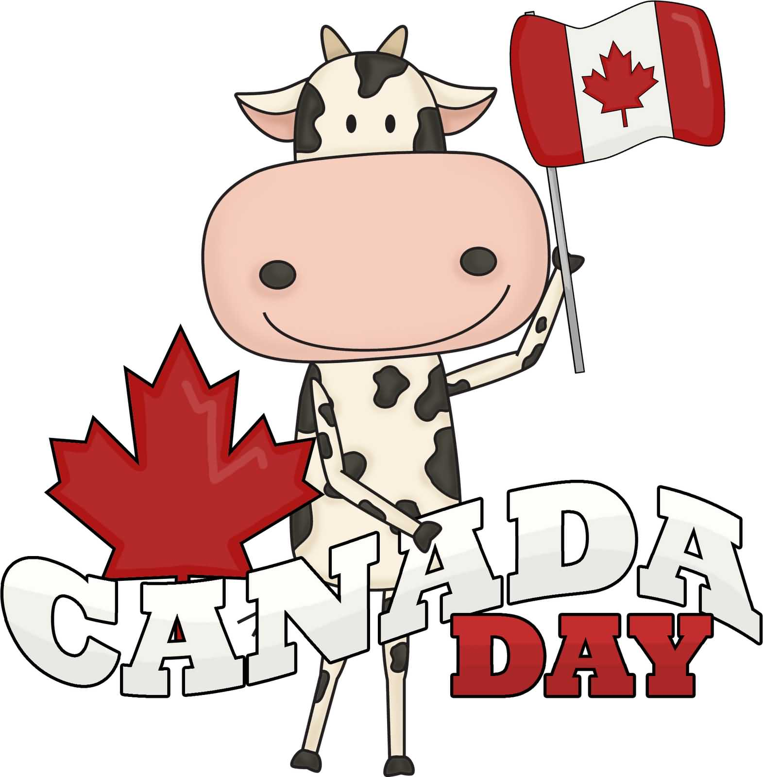 Cow Wishes Happy Canada Day Image