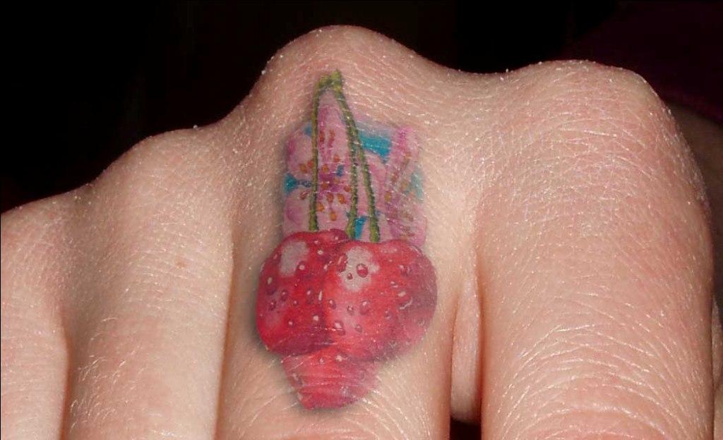 Crazy Cherry Finger Tattoo Design For Girls