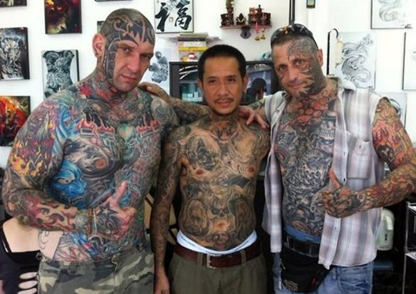 Crazy Three Dudes Covered In Full Body Tattoo Designs For