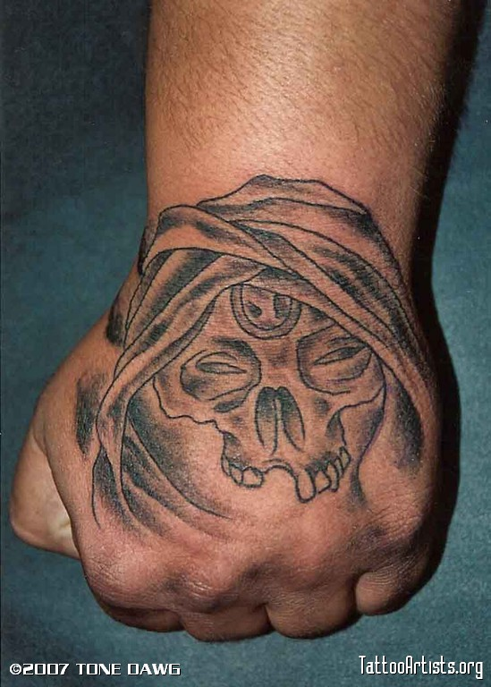 Creative Devil Skull Hand Tattoo Design For Boys