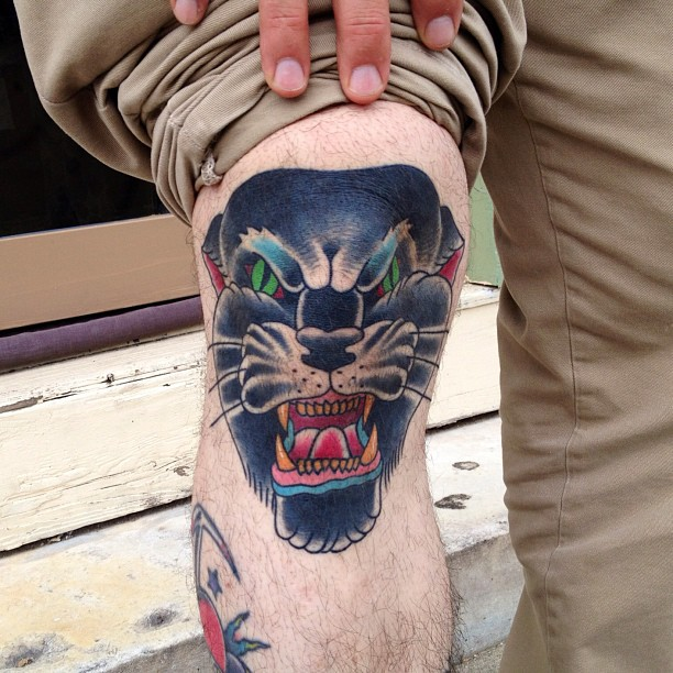 Creative Panther Head Tattoo On Knee For Boys