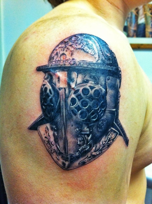 Creative Roman Gladiator Helmet Tattoo On Shoulder For Boys