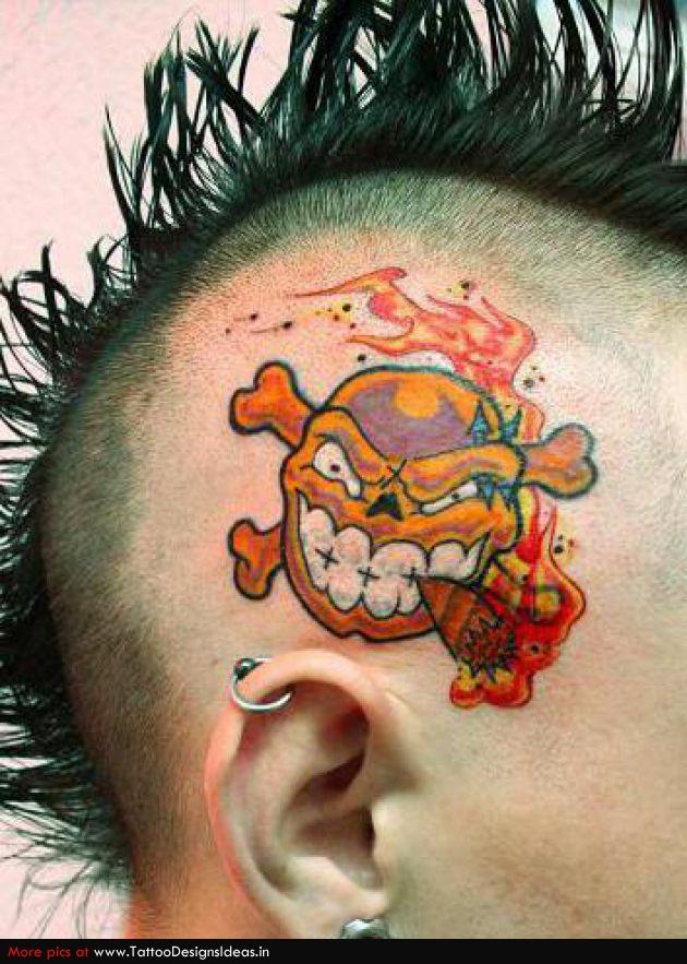 Custom Big Teeth Cartoon Tattoo On Head For Boys