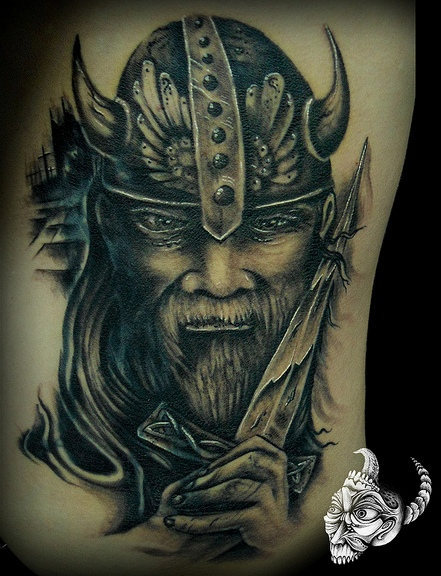 Custom Old Viking Head In Helmet Tattoo For Boys