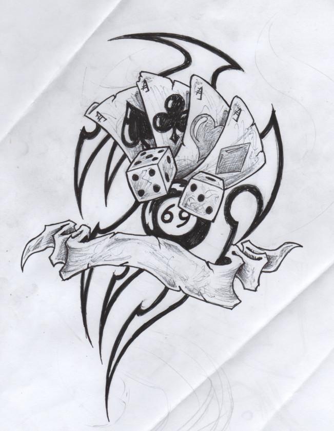 custom tribal gambling tattoo drawing for boys - Drawing For Boys