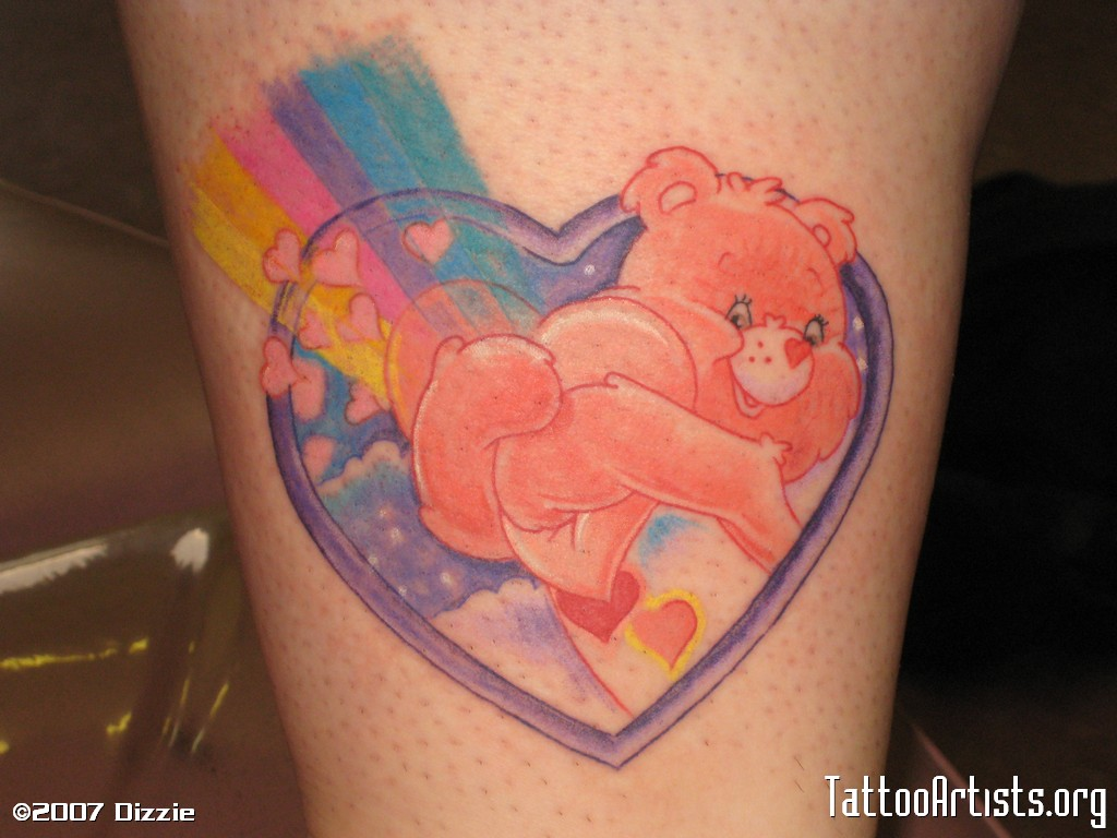Cute Heart Care Bear Tattoo Design For Boys
