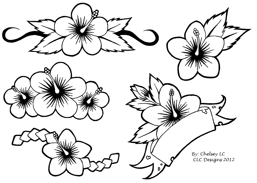 Cute Hibiscus Flowers Tattoo Designs For Girls