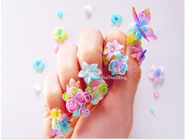 Cutest 3D Butterflies Nail Art With Flower Of Pink Color