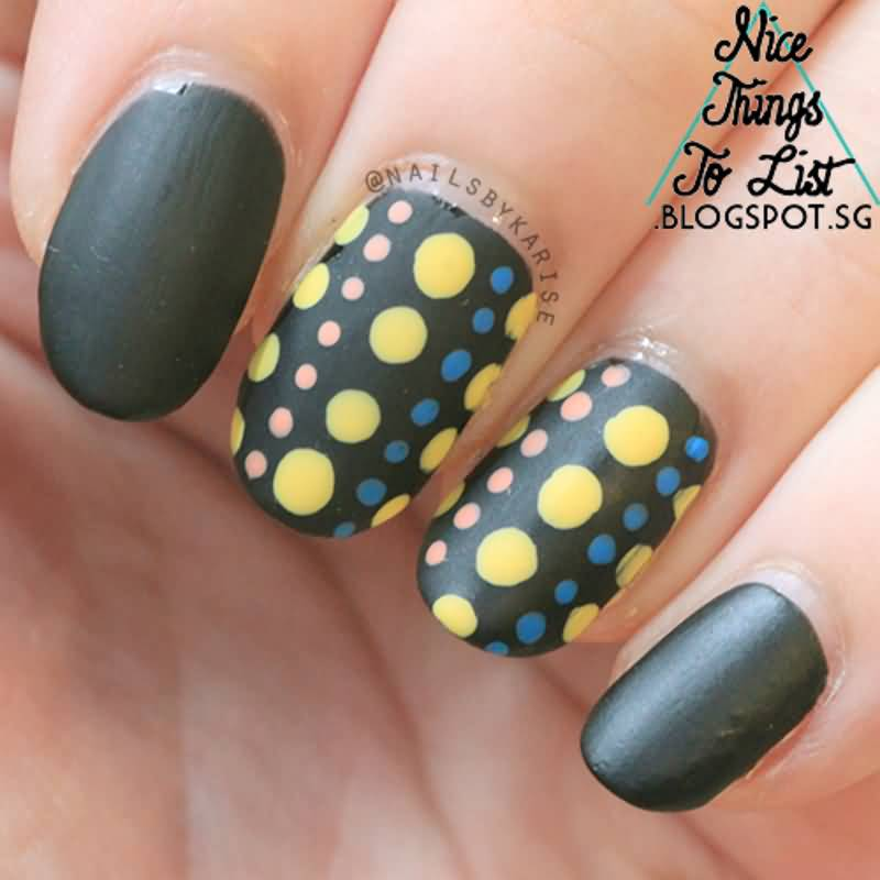 Cutest Black Matte Nails With Yellow Color Dotted Design
