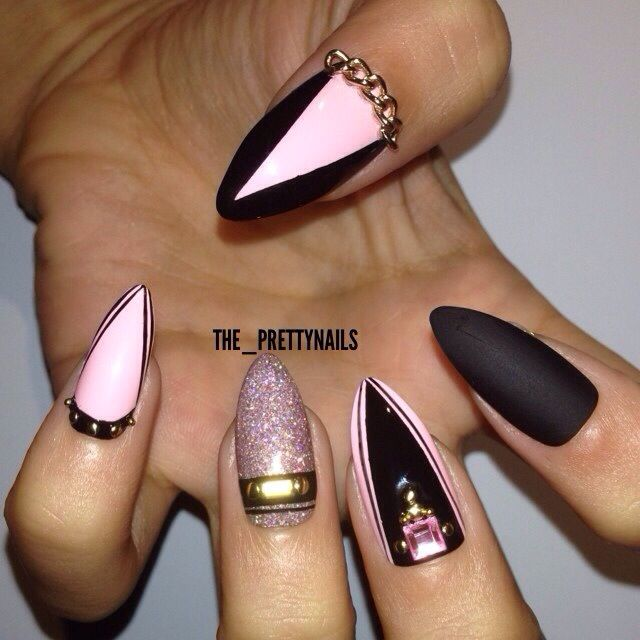 Cutest Black Nail Art With Pink Color And Chain Black Nails