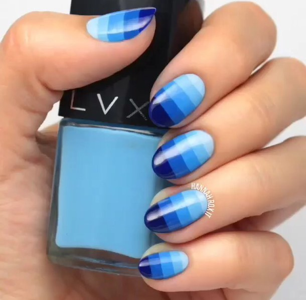 Cutest Blue Nails With Colorful Design