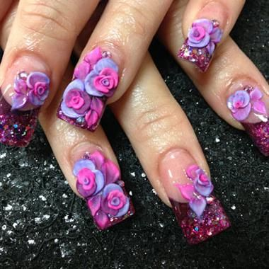 Cutest Mixed Color Flower 3D Acrylic Nail Art