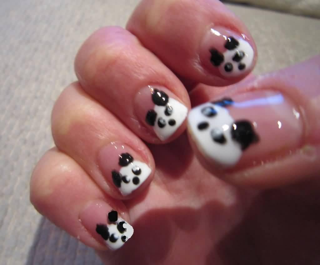 Cutest Panda Designs Black Acrylic Nail Art