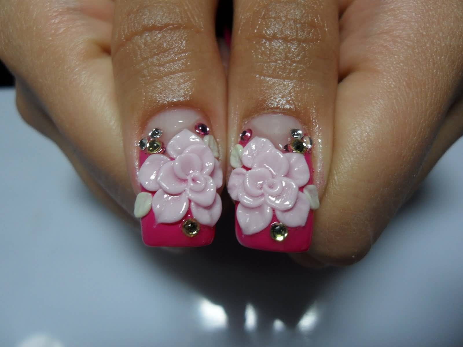 Cutest Pink Color Flower 3D Acrylic Nail Art