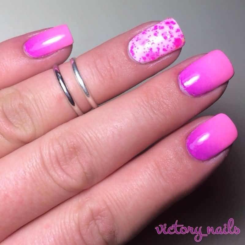 Cutest Pink Nail Flower Accent Nail Design