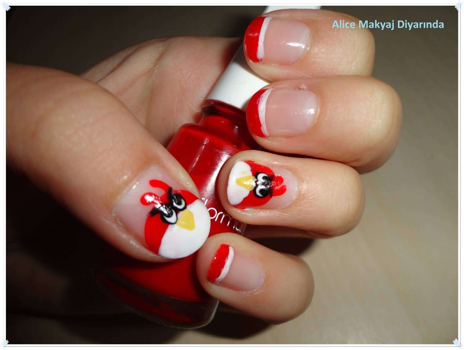 Cutest Red Fat Angry Bird Nail Art Design