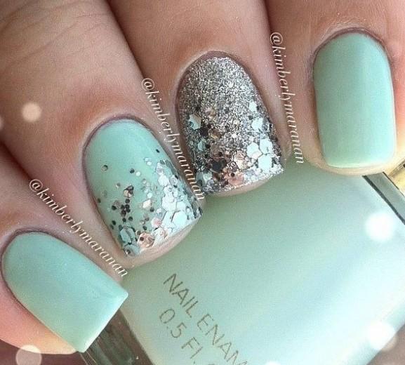 Cutest Sky Blue Color Glitter Accent Nail Art