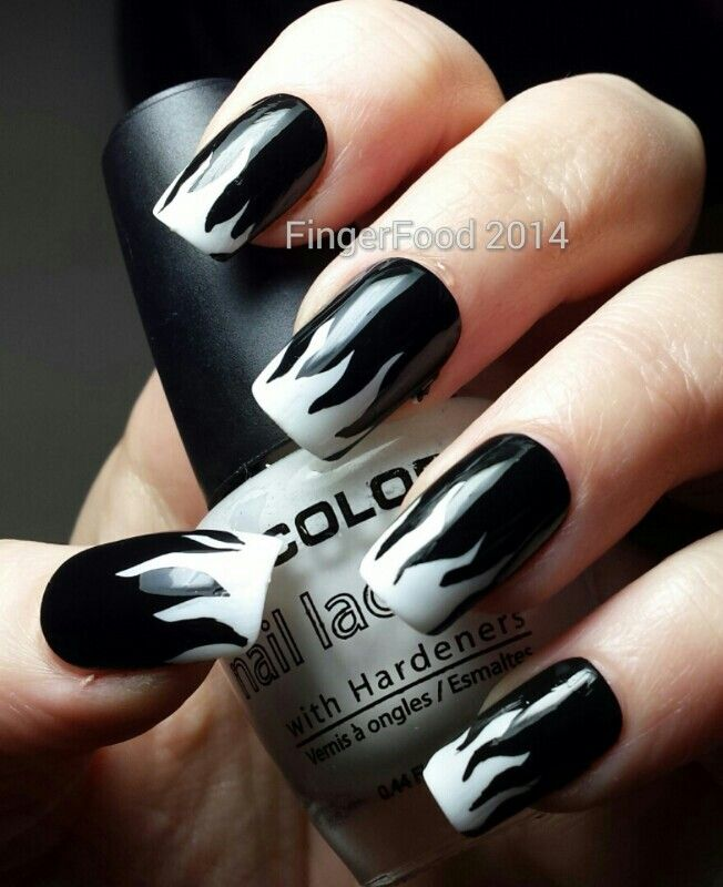 Cutest White And Black Nail Art With Black Fire