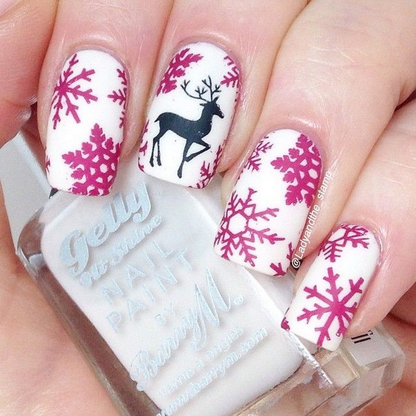 Cutest White Nail Paint With Deer Black Accent Nail Art