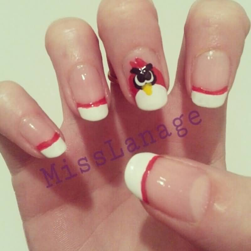 Cutest White tip With Angry Bird Nail Art Design