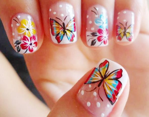 Cutest Yellow And Red Butterfly With White Dotted 3D Butterflies Nail Art
