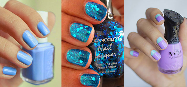 Dashing Blue Nails With Sparkling And Simple Nail Paint
