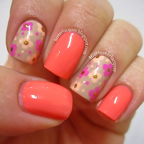 Dashing Baby Pink Nail Paint With Pink Flower Accent Nail Art