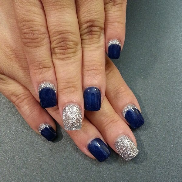 Dashing Blue And Silver Paint Accent Nail Art