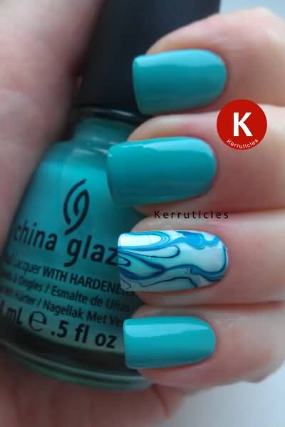 Dashing Blue Paint With Different Design Accent Nail Art