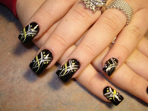 Dashing Desgins With Black Nail Paint Black Acrylic Nail Art