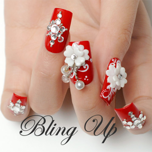 Dashing Red Color And White Rose 3D Rose Flower Nail Art