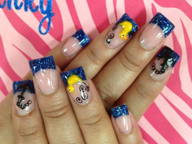Dashing Yellow And Blue Nails With Sparkling Nail Tip