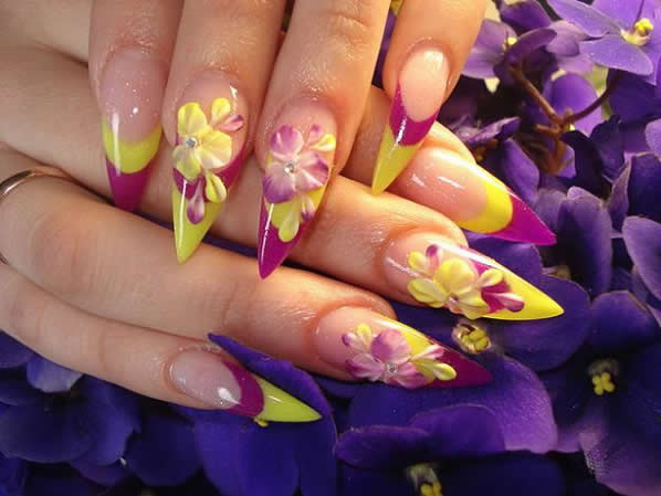 Dashing Yellow Color Flower 3D Acrylic Nail Art