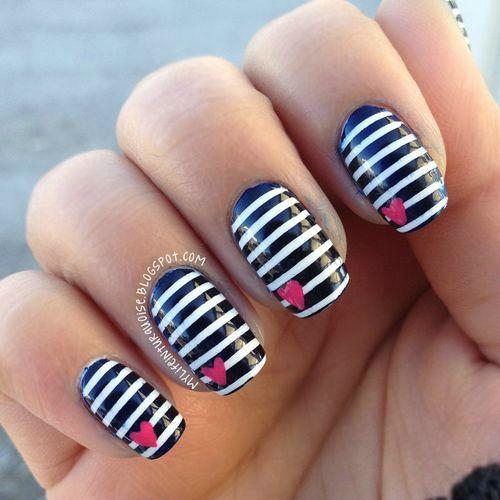 Designer Black And White Stripes Black Acrylic Nail Art