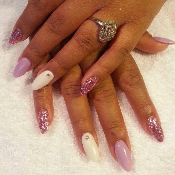Designer White And Pink Color Almond Shaped Acrylic Nail Art