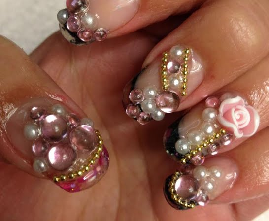 Diamond Decorated With Pink Tips 3D Rose Flower Nail Art