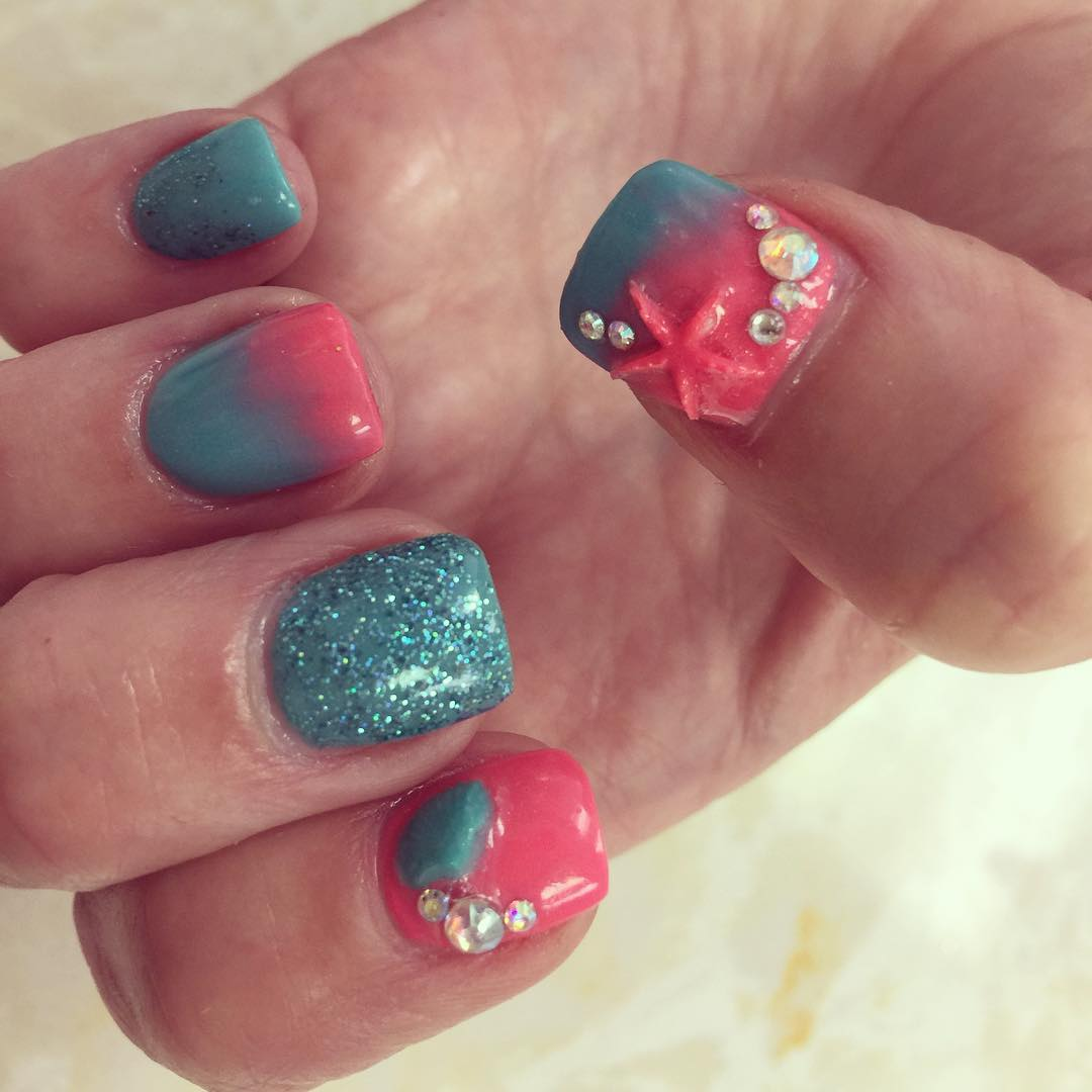 Different Blue Color With Star Design 3D Rose Flower Nail Art