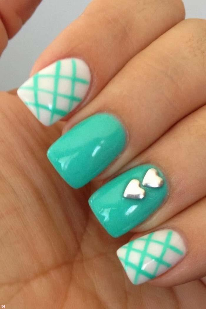 Divine White And Blue Heart Design Accent Nail Design