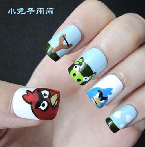 Divine White Color Nail paint Angry Bird Nail Art Design