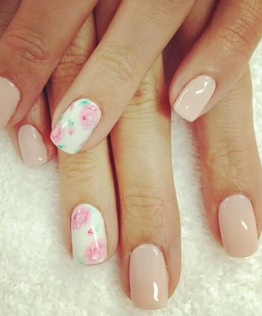 Divine White With Pink Flower Accent Nail Art
